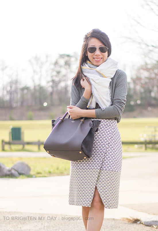 linen scarf, gray tee, brocade wrap skirt, gray tote
