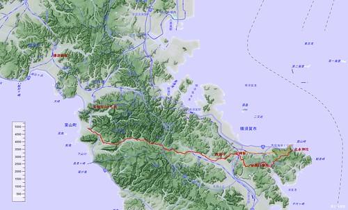三浦半島の古代東海道ルート 川だけ地形図