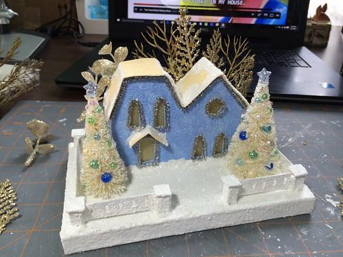 blue double Putz house