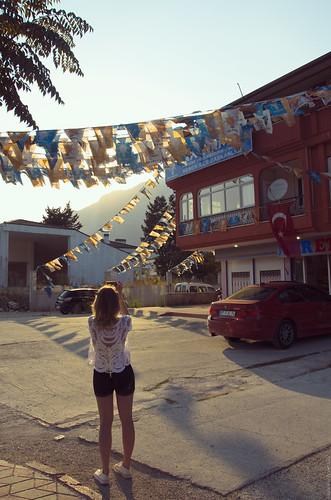 sunset summer sky girl turkey streetview kemer btw