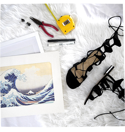 Schutz Sandals and Picture Frame