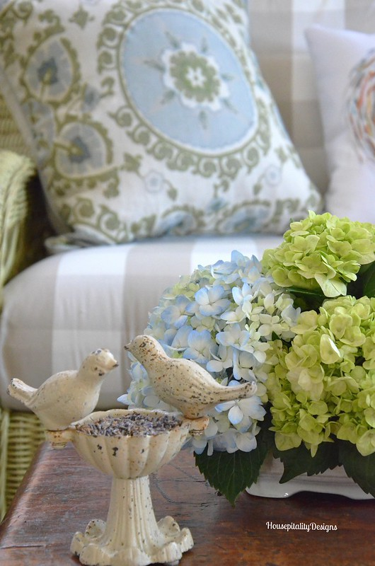 Sunroom hydrangeas - Housepitality Designs