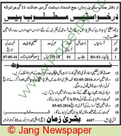 Anti Terrorism Court Gujranwala Jobs 2016
