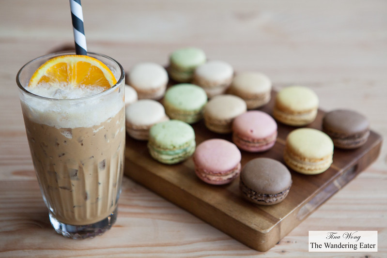 Macarons and iced orange latte