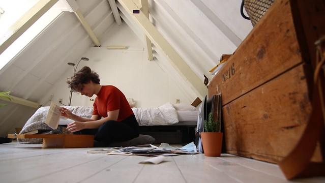 Elma in her room in Leiden
