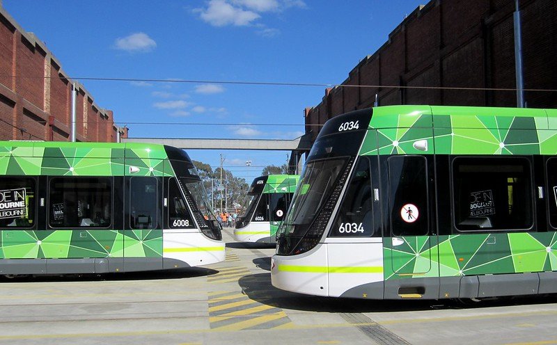 E-class trams at Preston tram depot
