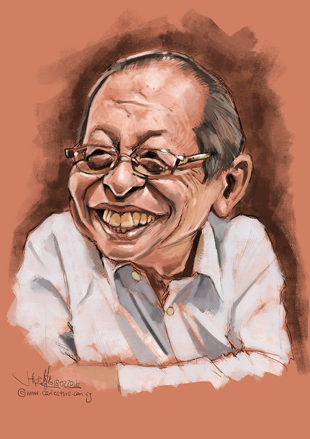 林吉祥 Lim Kit Siang digital caricature painting - block in
