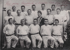 Group of young men posing for a school portrait