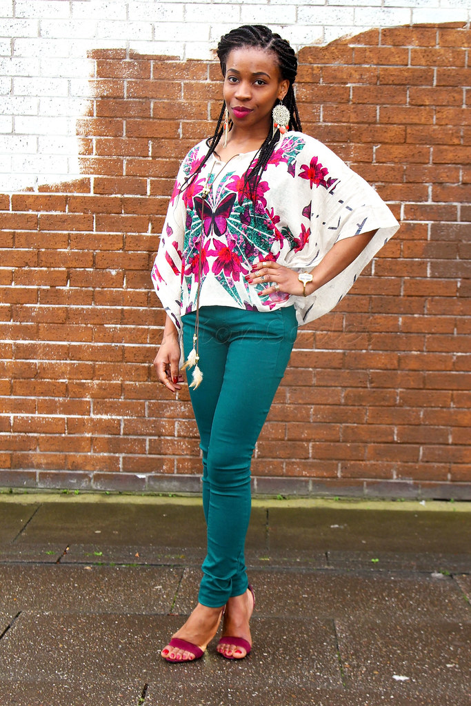 burgundy-barely-there-strap-heels-green-trousers-kimono-top,Kimono top, kimono wrap top, green trousers, green pants, kimono top, butterfly kimono top, gold dangling earrings, feather tassel necklace, burgundy strappy heels, barely there strappy heels, barely there ankle strap heels, multi coloured kimono top, kimono blouse, dangling earrings, pink lipstick, tassel feather necklace, long necklace