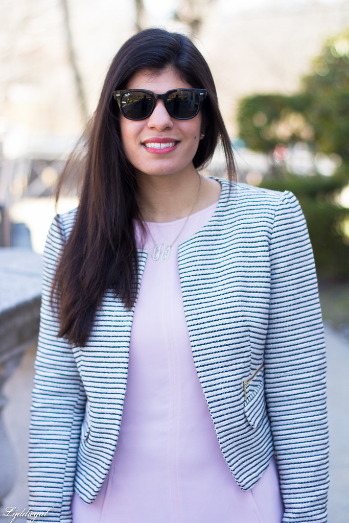 blush dress, striped blazer, white bag, silver heels-7.jpg