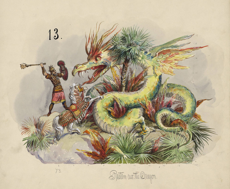 Carlotta Bonnecaze - Rustem and the Dragon, float design from Krewe of Proteus, 1894