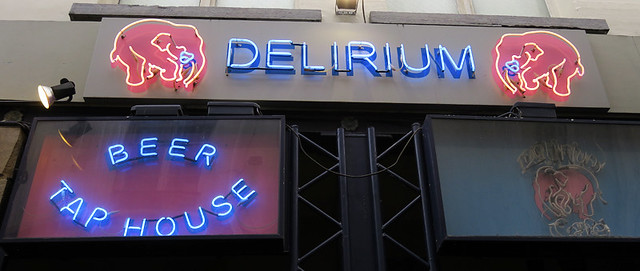 The entrance to the Delirium Pub in Brussels, Belgium
