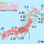 Cherry Blossom Forecast by Japan Weather Association (Mar.9)
