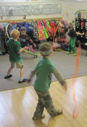 green ribbon dancers