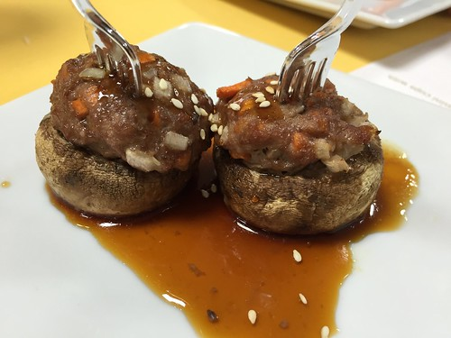 Stuffed mushrooms with ground chicken, note cute tiny plastic forks