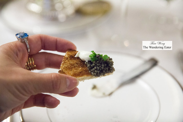 My caviar with creme fraiche on a broiche toast point