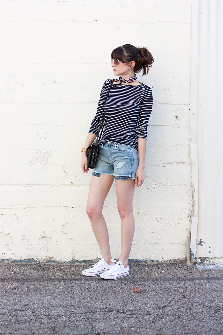 Gap Denim Shorts, Converse Sneakers