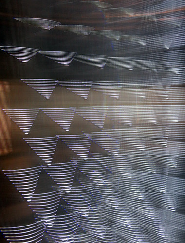 Fresnel glass, used in lighthouse beacons, is part of this glass exhibit in the Netherlands Architecture Institute (Het Nieuwe Instituut) in Rotterdam, Holland