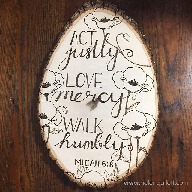 Wood-Burning with Stencil, Stamp and Hand-lettering   Living My Given Life http://helengullett.com/?p=8947 #diy #woodburning #woodslice #homedecor #handmade #handmadehomedecor #craft #handlettering #micah6 #unitystampco #donnadowney #poppyflower