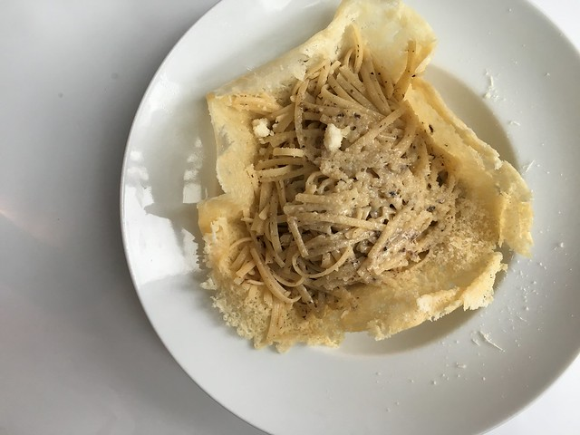 Truffle pasta in parmesan bowl at Rudolph's in Hamburg