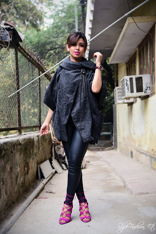 Srish SheInside Fall fashion Hauz khas Punk Annaikka kanika saluja michael kors forever 21 lace up heels pink leather leggings zara street style fashion blogger