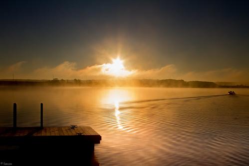 sky lake fog sunrise canon boat nc fishing outdoor ripple foggy northcarolina boatdock ncstateparks canon7d jordanlakestaterecreationareanlakestate jordanlakestate boatripple ncraleighraleigh nccaryweathersunlight