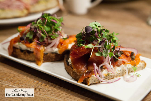 Lox bruschetta on rye