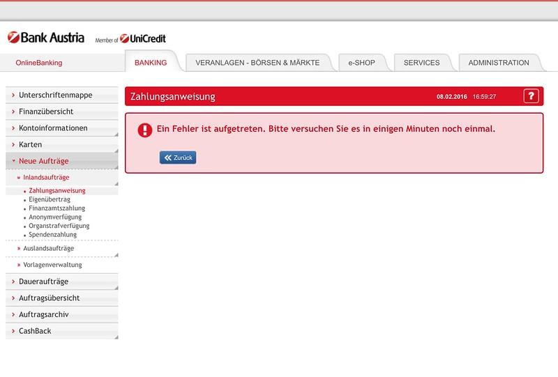 OnlineBanking der Bank Austria