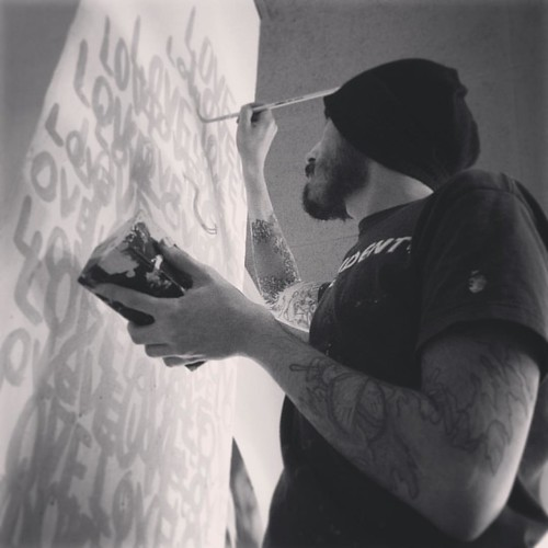 It has begun! New LOVE concept Art installation at The Shamanmonet Cafe. Day One! Pix by my zen lover @la_juana #art #illustration #typography #installation #culturetrip_tlv #insta_israel #insta_telaviv #style #streetart #graffiti #adidafallenangel #love