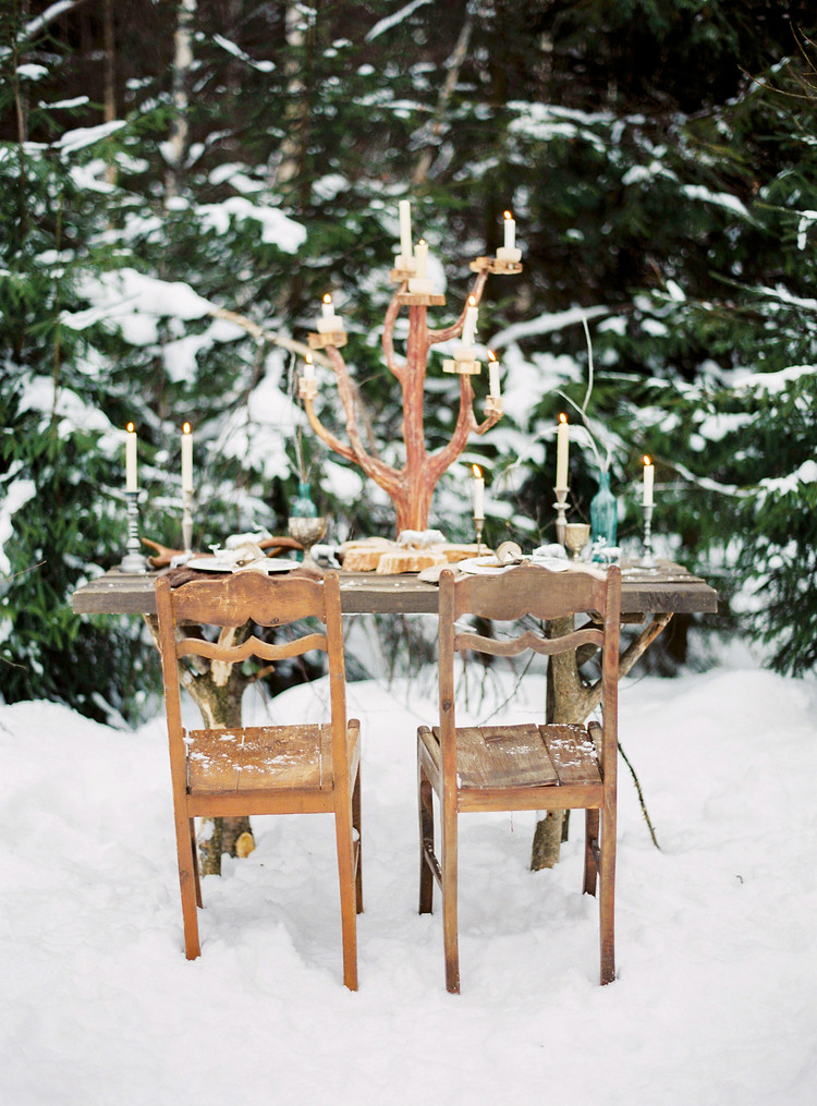 Narnia Inspired Winter Wedding Inspiration , winter wedding table setting | Yaroslav and Jenny Photography | Read more on fabmood.com