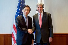 U.S. Secretary of State John Kerry shakes hands with Republic of Korea Foreign Minister Yun Byung-Se on February 12, 2016, at The Charles Hotel in Munich, Germany, before a bilateral meeting on the margins of the Munich Security Council. [State Department photo/ Public Domain]
