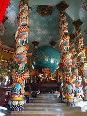 Inside the Cao Dai Great Temple in Tay Ninh