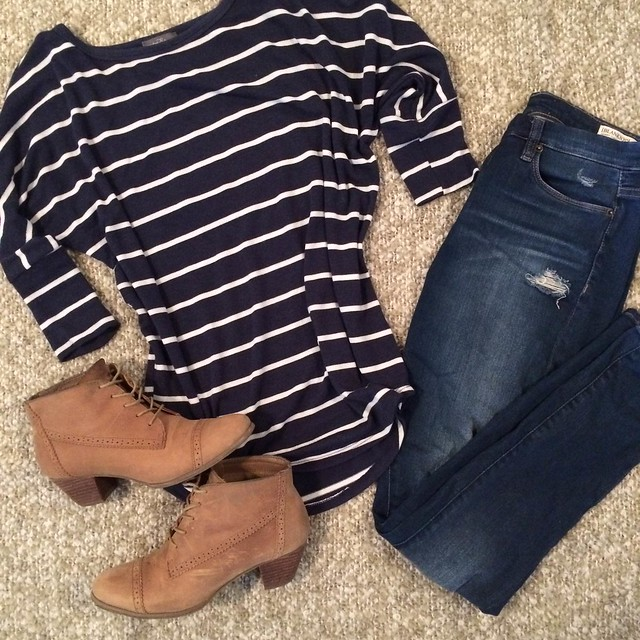 striped shirt + tan booties + distressed jeans