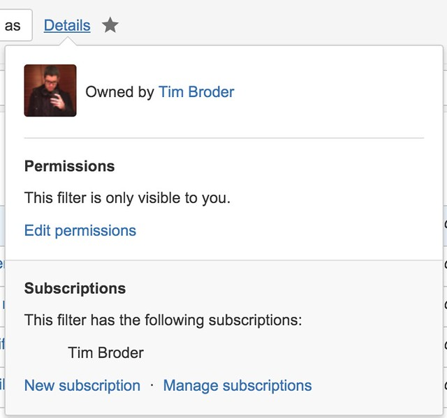Jira Filter Subscriptions - timbroder com
