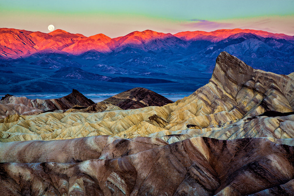 Moonset over Death Valley
