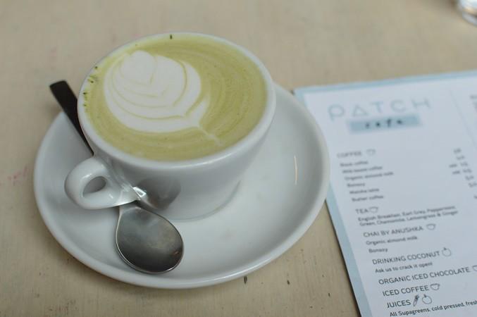 Matcha latte with almond milk
