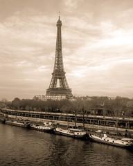 Eiffel Tower in Vintage Sepia