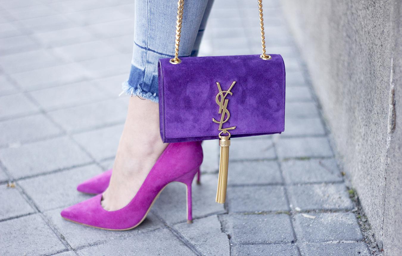 striped blouse with bell sleeves ysl handbag carolina herrena pink heels black choker Aristocrazy Ring outfit12