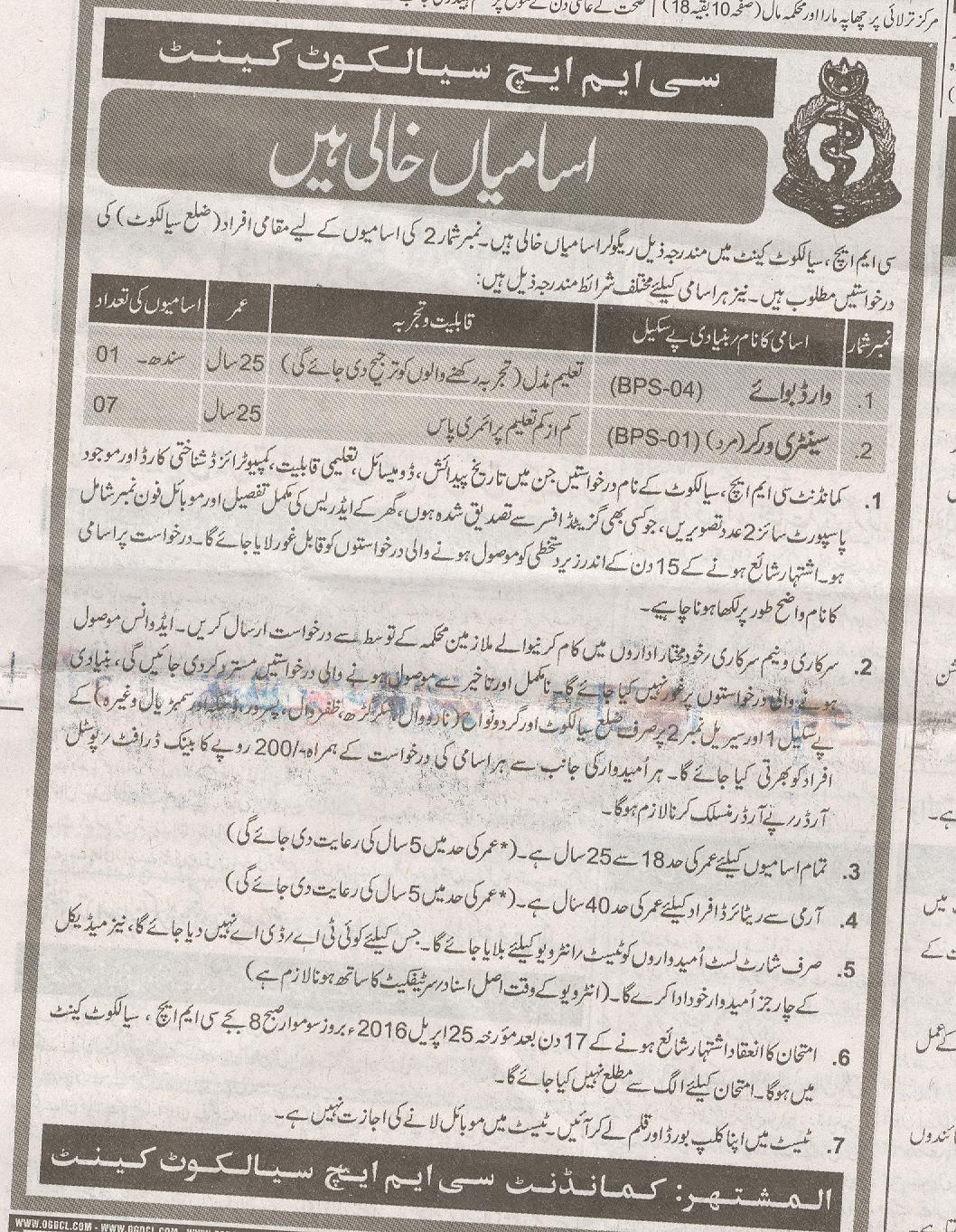 Ward Boy And Sanitary Worker  Jobs 2016