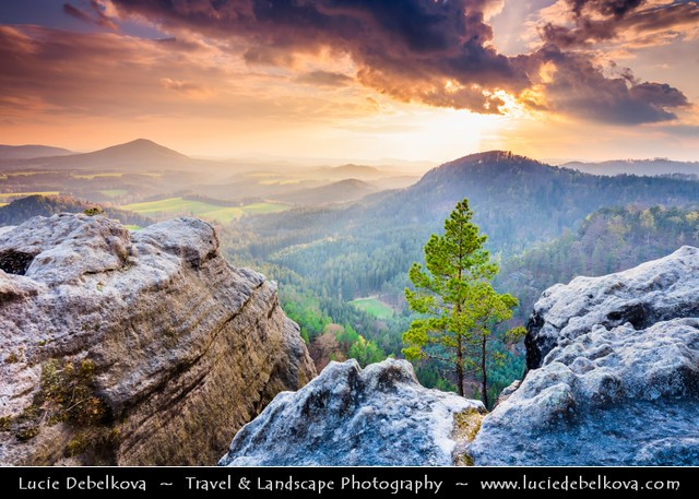 Czech Republic - Bohemian Switzerland National Park - České Švýcarsko - View from Vilemínina stěna at Sunset