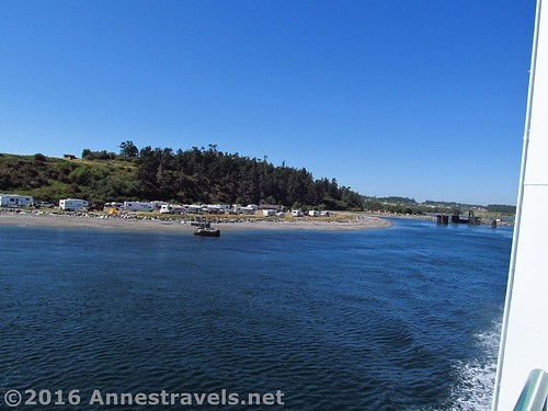 Looking back at the Coupeville Dock and Fort Casey State Park just after embarking. Port Townsend Ferry across the Puget Sound, Washington