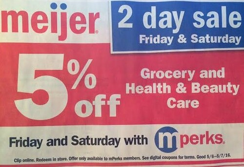 Meijer Two Day Sale 5/6/2016