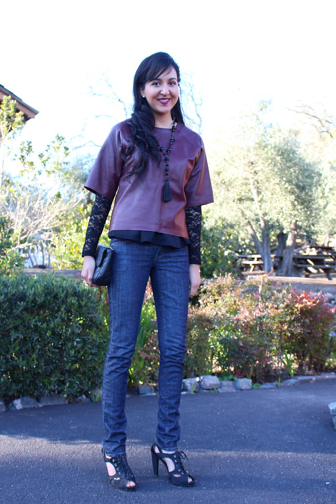 Layering with Peplum and Leather 1