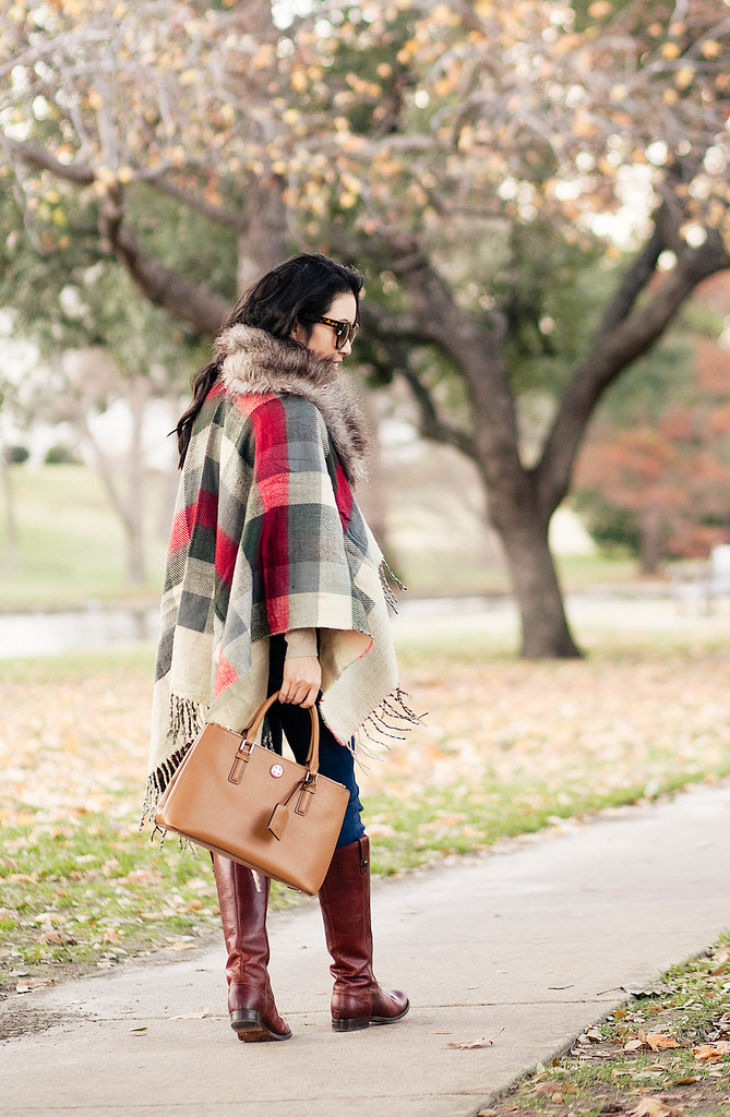 cute & little blog | petite fashion | boohoo plaid fringe cape, striped turtleneck, fitcode paige verdugo jeans, frye melissa riding boots, fur scarf | fall winter outfit