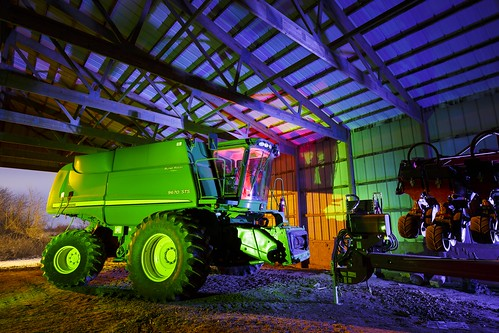 John Deere, Farm Implement, Boone County Missouri, Boone County, Missouri, Notley, Notley Hawkins, 10thavenue, http://www.notleyhawkins.com/, Missouri Photography, Notley Hawkins Photography, Light Painting, blue light, green light, blue, green, night, nocturne, 光绘, 光繪, Licht Malerei, pintura de luz, ライトペインティング, प्रकाश पेंटिंग, ציור אור, اللوحة الضوء, long exposure, 2016, Janaury, Barn, BoCoMo