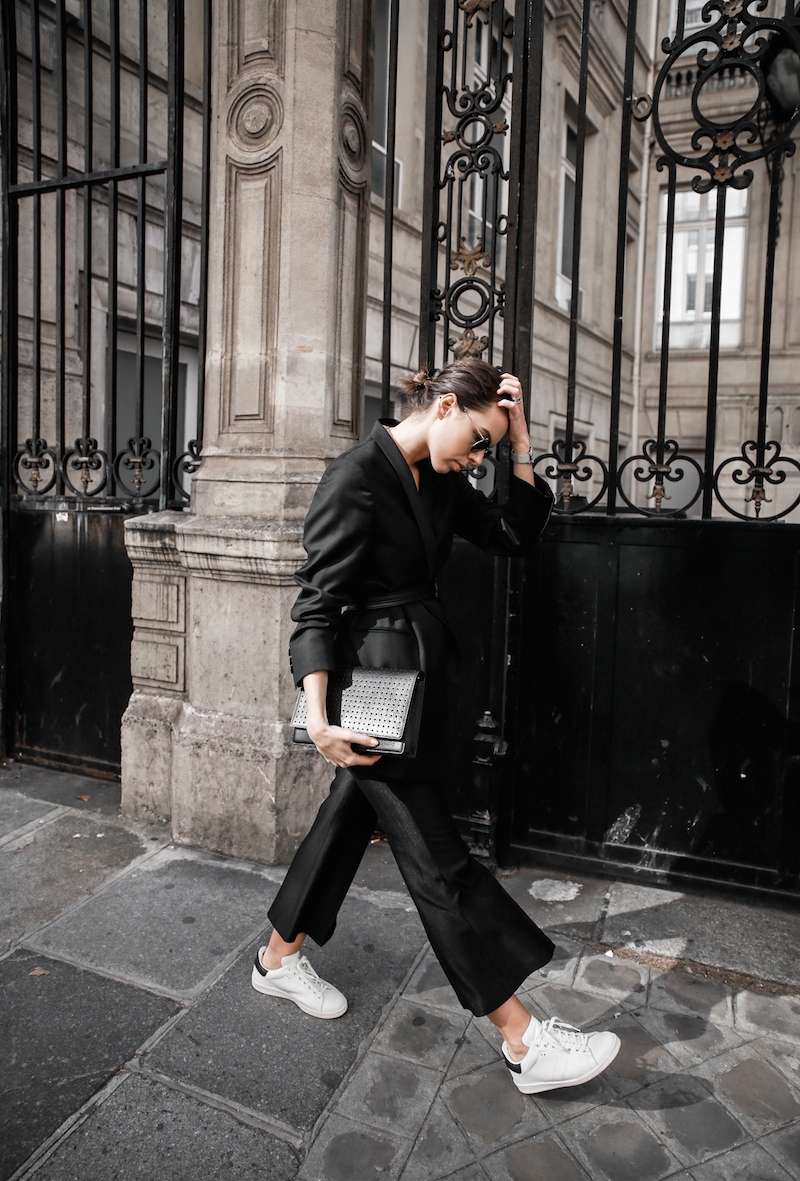 all black Paris fashion week street style Isabel Marant sneakers cropped kick flare Stella McCartney blazer Bassike belt modern legacy (2 of 8)