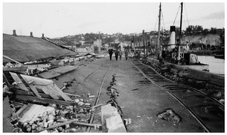 1931 Hawkes Bay Earthquake - Port Ahuriri – building on left collapsed and roof rested on
