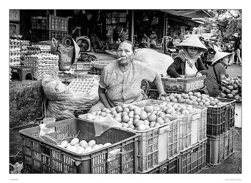 street blackandwhite bw view pentax market cigarette streetphotography vietnam eggs oldwoman hue pentaxart sdcfoto