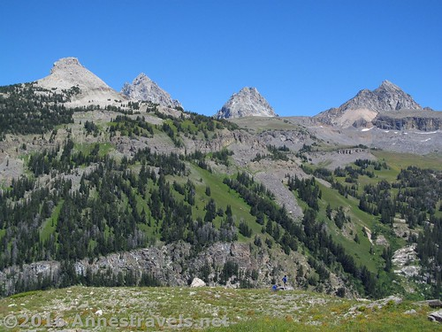 Battleship Mountain (left) and the Tetons from above Alaska Basin Overlook, Grand Teton National Park and Jedediah Smith Wilderness Area, Wyoming