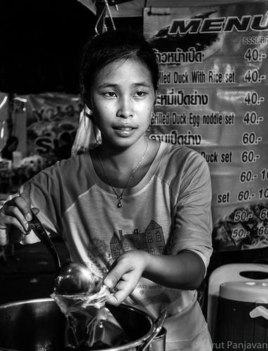 street travel people blackandwhite bw food woman monochrome face female night thailand grey mono candid sony thai trang rx100